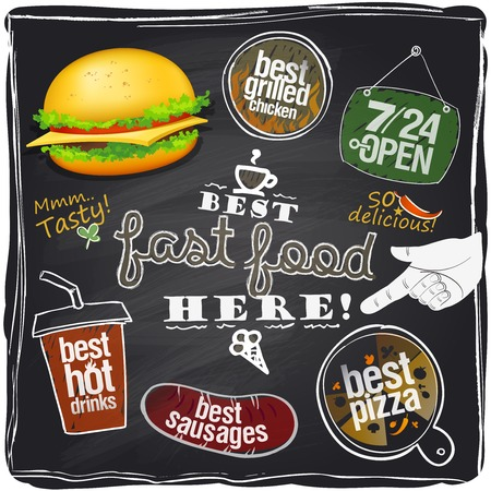 Best fast food here, chalkboard background. Vector