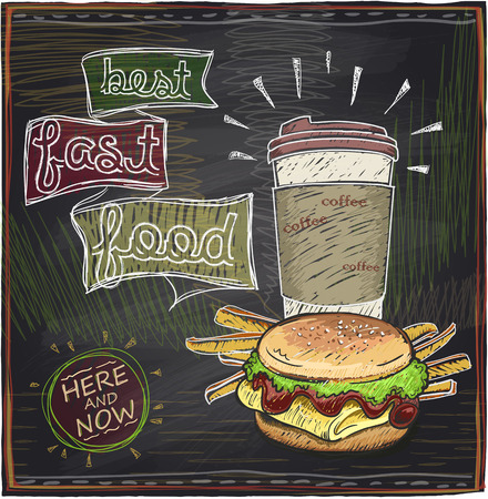 ham sandwich: Best fast food chalkboard design with hamburger, french fries and coffee.
