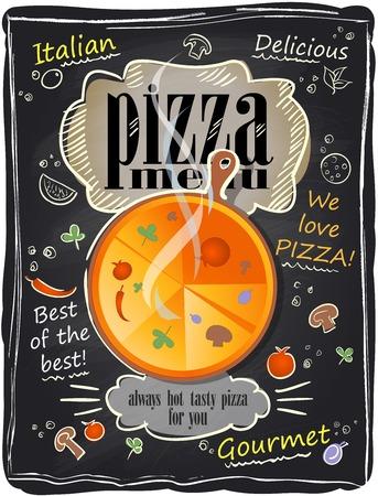 pizzeria label: Men� de pizza tiza vendimia, fondo de la pizarra.