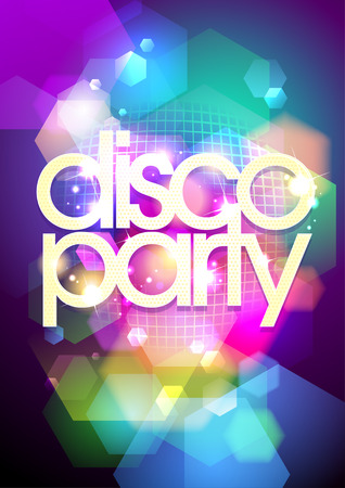 Disco party design on a bokeh background.  Illustration