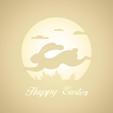 runing: Tarjeta de Pascua feliz con runing conejo.
