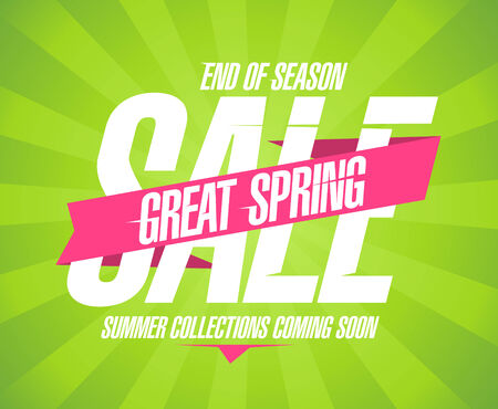 Great spring sale design in retro style. Vector