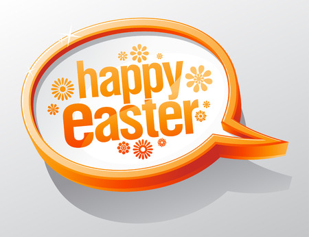 Happy Easter shiny glass speech bubble. Vector