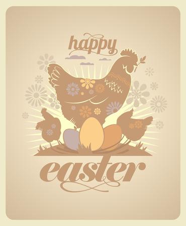 gallina con huevos: Diseño feliz de Pascua de la vendimia con las gallinas y los huevos.