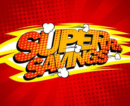 Super ontwerp besparingen, comics stijl.