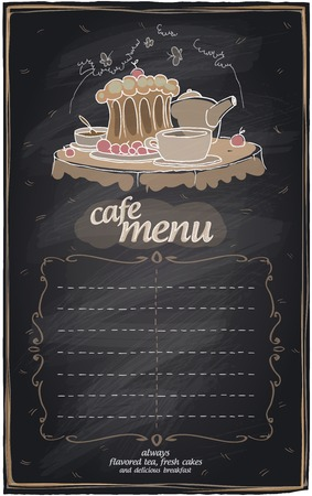 bebe a bordo: Menú del café de la pizarra con la torta y el lugar de texto. Vectores