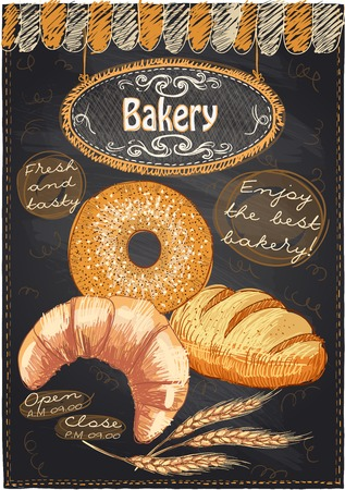 Chalkboard cafe menu with cake and place for text. Ilustração