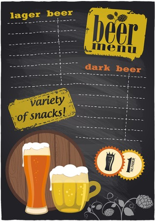 Chalkboard beer menu with place for text.  Vector