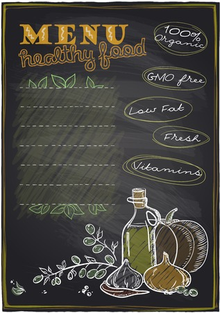chalkboard: Chalkboard healthy food menu with place for text. Illustration