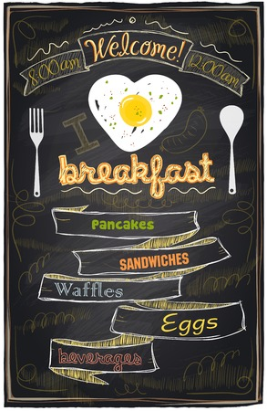 breakfast: Chalk breakfast menu. I love breakfast. Illustration