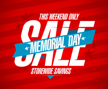 Memorial day sale design template. Illustration