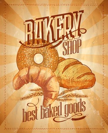 bagel: Bakery shop vintage design.
