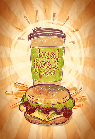 Best fast food vintage design with hamburger, french fries and coffee. Vector