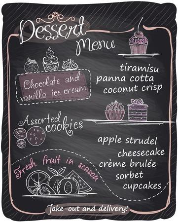 Chalkboard dessert menu.  Vector