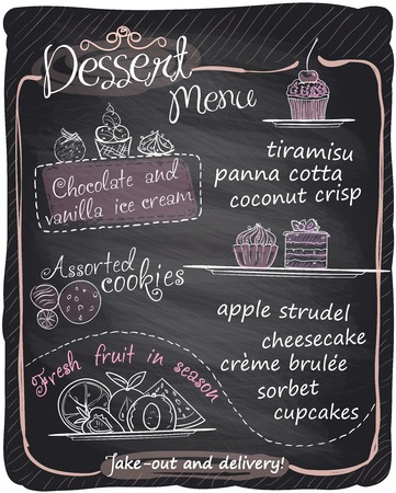 chocolate cupcakes: Chalkboard dessert menu.
