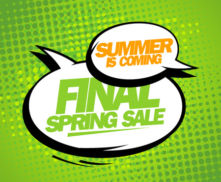 poster background: Summer is coming, final spring sale design with balloons. Illustration