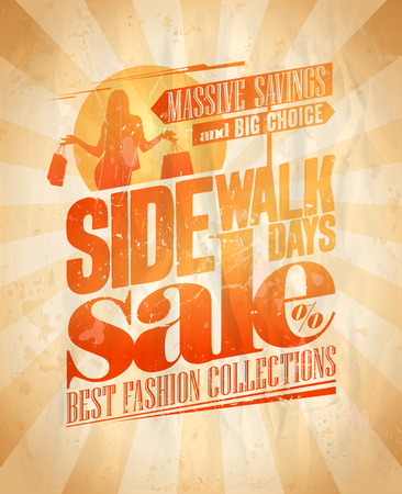 Sidewalk sale days, massive savings.  Vector