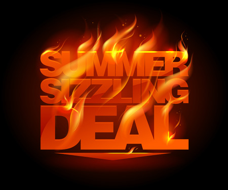 Fiery summer sizzling deal design template. Vector