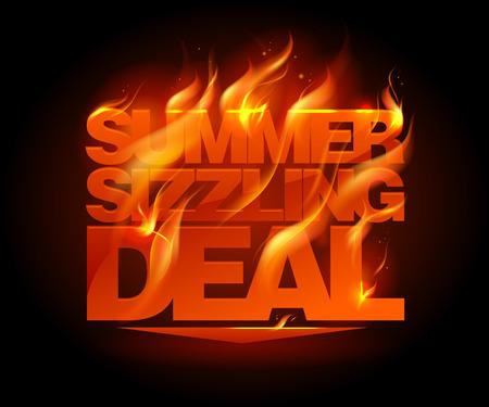 caliente: Plantilla de diseño del acuerdo que chisporrotea verano ardiente. Vectores