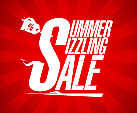 end of summer: Summer sizzling sale design template. Illustration