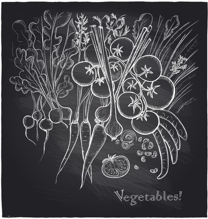 Chalkboard vegetables background.  Vector