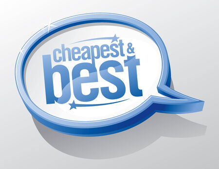 lowest: Cheapest and best blue speech bubble symbol.
