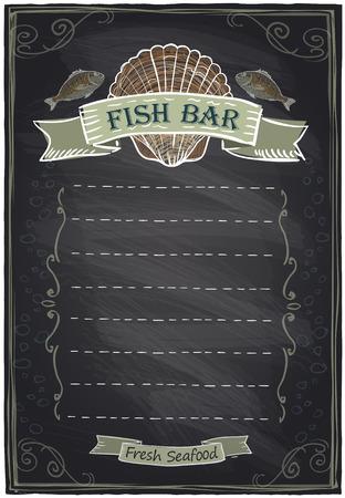 Chalkboard seafood menu card. Vector