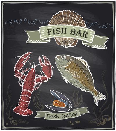 Chalkboard fish bar. Vector