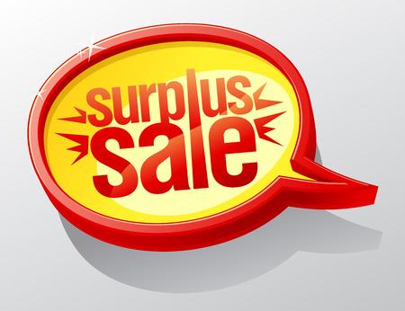 surplus: Surplus sale golden speech bubble.  Illustration