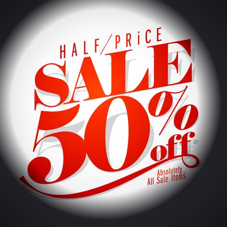 50 % sale banner.  Vector