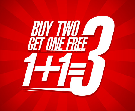 Buy two get one free sale design. Illustration