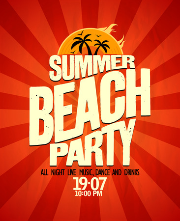 fiestas discoteca: Cartel tipográfico fiesta en la playa de verano.