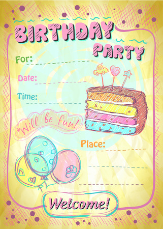 Birthday party invitation with place for text.  Vector