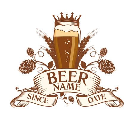 crown of light: Beer symbol design.