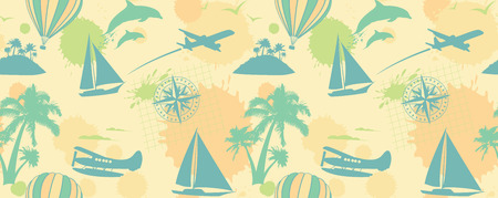 Traveling tropical seamless pattern.  Vector