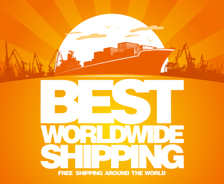 Best worldwide shipping design template. Vector
