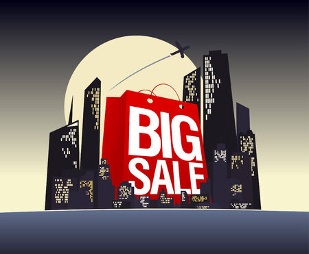 Big sale shopping bag in night city, vector poster. Vector