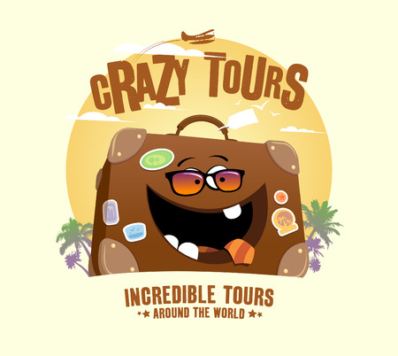 Crazy tours design with funny suitcase Vector