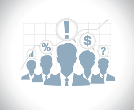 session: Template of business people team silhouettes with chart