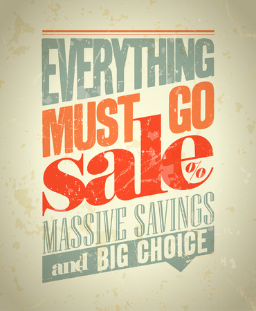 massive: Everything must go sale design in retro style.