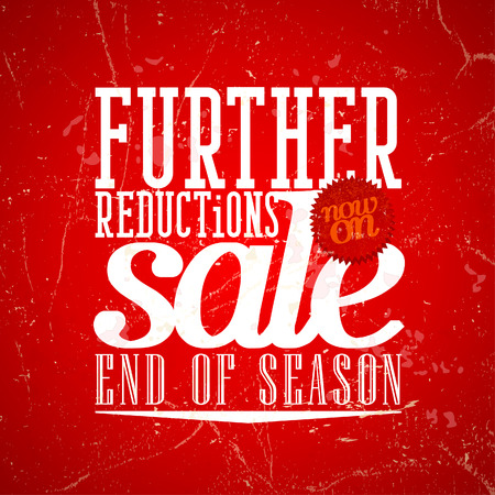 Further reductions sale design in grunge style.  Vector