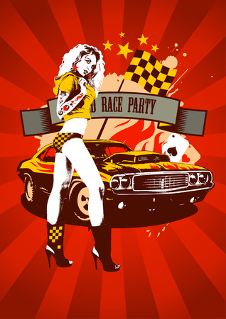 Motor race party design with fashion girl and retro car on red rays background Иллюстрация