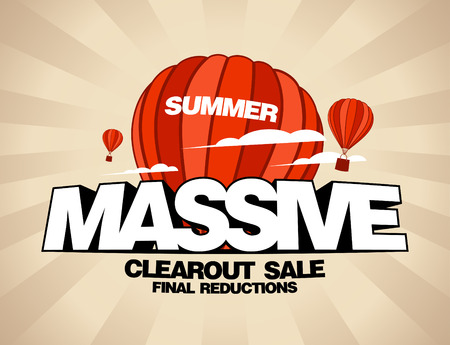 bargain: Massive summer sale design template with balloons carrying shopping bags Illustration