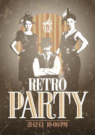 ファッションの女の子と男とレトロなパーティー デザイン。Eps10