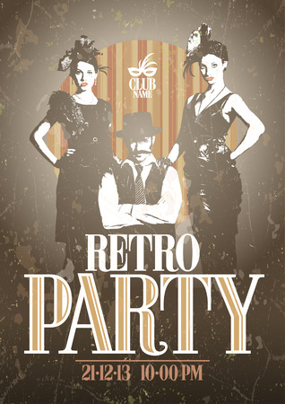 Retro party design with fashion girls and man. Eps10 Vector