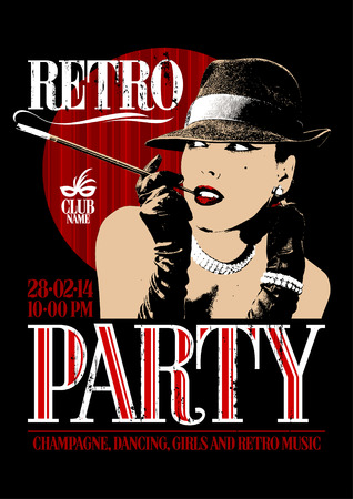 Retro party design with old-fashioned woman in a hat, smoking  cigarette in the mouthpiece. Illustration