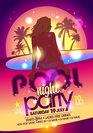 fiesta: Cartel fiesta en la piscina de noche. Eps10