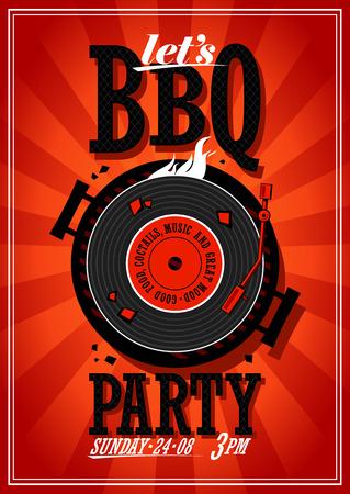 Bbq partij ontwerp met vinyl record op de grill Stock Illustratie