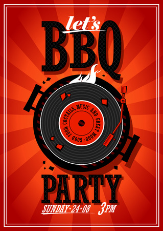 bbq party: Bbq party design with vinyl record on the grill