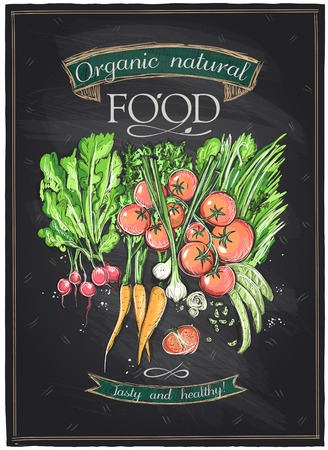 黒板有機自然食品、野菜の背景。
